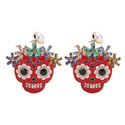 Luroze Pendientes de Calavera Colgantes, Personalizados, relajados y Elegantes, joyería magnífica para Fiestas navideñas, Bailes, Citas, Noches y más(Rojo)