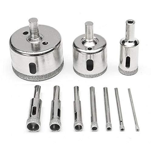 Sierra de agujero, Herramientas del cortador de 10Pcs 3-50mm diamante Brocas Conjunto agujero de cristal de sierra