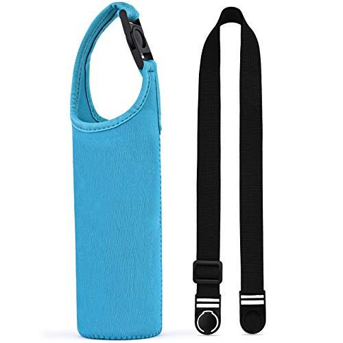 斜め掛けや手提げの携帯水筒カバー サーモス/象印/タイガー300-500ml携帯魔法瓶用の交換できるカバー 調節可能なショルダーストラップ付き 持ち運ぶのに便利な断熱水筒ケース 子供でも大人でも適用 (ブルー)
