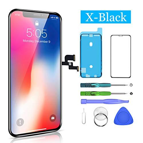 HTECHY Kompatibel mit iPhone X Display Schwarz, LCD Touchscreen Digitizer Display, Ersatz Bildschirm Eine illustrierten Reparaturanleitung & Ersatzbildschirm Komplettes Werkzeug
