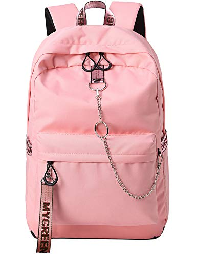 El-fmly Fashion Water Resistant Backpack for Travel Lightweight School Bookbags with Cute Letters Strap for Teenage Girls & Women (Pink)
