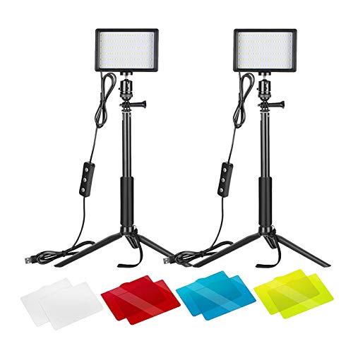 MagiDeal 2x Luz de Video LED USB 5600K Regulable con Soporte Ajustable/Filtros de Color para Tomas de ángulo Bajo, Iluminación LED Colorida
