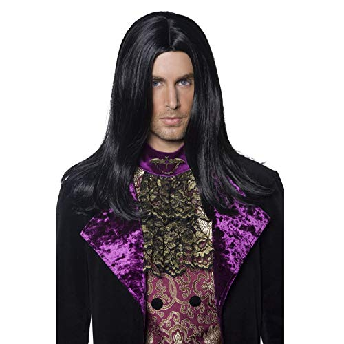 Men Halloween Fancy Dress Party Gothic Count Pruik Lange Rechte Headset Zwart