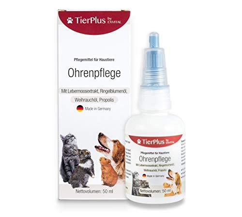 EXVital Ohrenpflege von TierPlus, für Hunde, Katzen & Kleintiere - 50 ml – Löst Ohrenschmalz & Schmutz, 100% natürliche Ohrentropfen für eine Stabilisierung der natürlichen Bakterien, Made in Germany