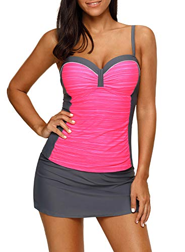 EVALESS Womem Two Piece Color Block Swimsuits Push Up Tankini Tops with Skirted Bottom Swimwear Set Pink