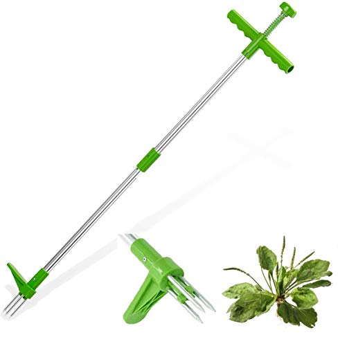 BeTIM Stand Up Weed Puller, Root Removal Tool with 3 Stainless Steel Claws, 39 inch Long Handle Garden Hand Weeding Tool, Manual Remover Weed Extractor for Backyard, Lawn, Patio