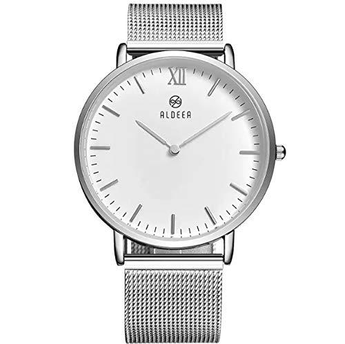 ALDEEA Watch Edelstahl-Uhr Analog Quarz Armbanduhr mit Roségold, Silber, Schwarz Edelstahl Armband, 3ATM Wasserdicht Damen Herren Unisex Uhr Handuhr Zeitmesser (Silver)