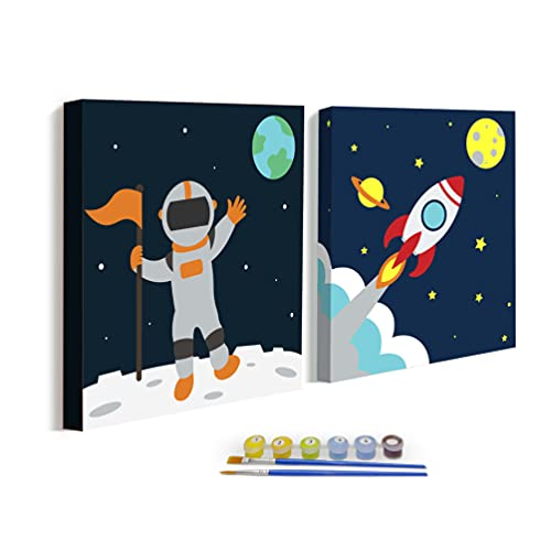 2-Pack Easy Paint by Numbers Kits for Kids, DIY Oil Painting for Children Boys Beginners, Framed Pre Drawn Canvas Painting Craft Set, Color According to Numbers 8x8 inch (Space)