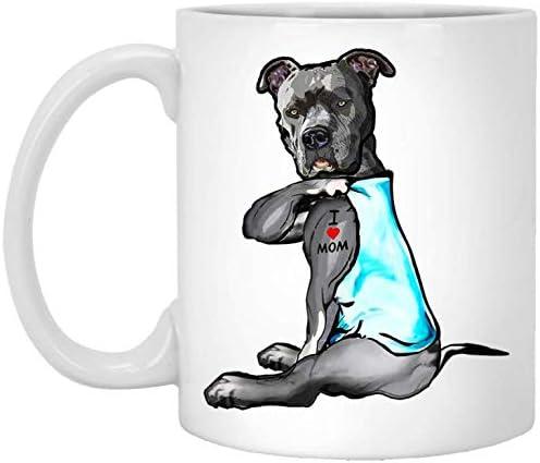 Funny Pit Bull Tattoo I Love Mom Coffee Mug product image