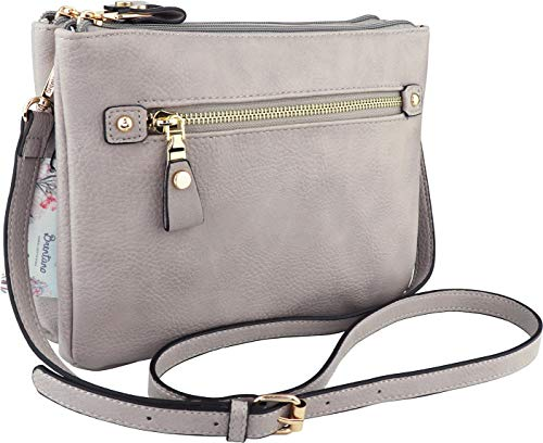 B BRENTANO Multi-zipper Double Pocket Crossbody Handbag Purse (Gray)