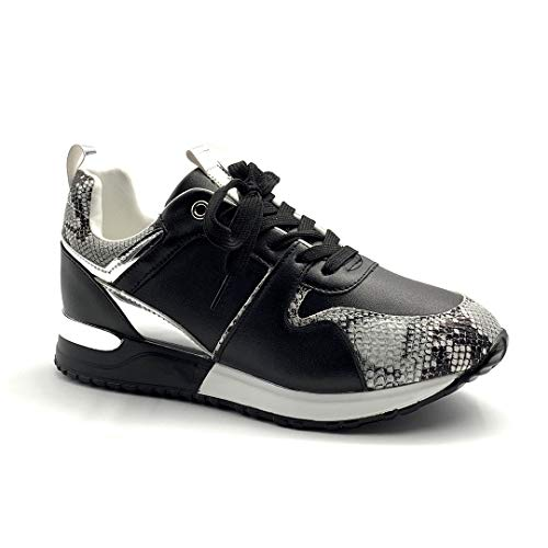 Angkorly - Damen Schuhe Sneakers - Turnschuhe Sneakers - Turnschuhe keil - Tennis - Flache - Streetwear - Pythonschlangenhauteffekt - Metall Detail - geladen Flache 4 cm - Schwarz BK7 T 37