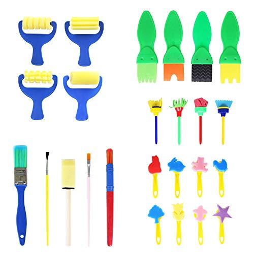 Mein HERZ 25 Stücke Schwamm Malerei Pinsel Set Kinder Früherziehung Zeichnung Werkzeuge für DIY Kunsthandwerk,Schwammbürste Mit 8 Verschiedenen Mustern für Kinder von 3-6 Jahren