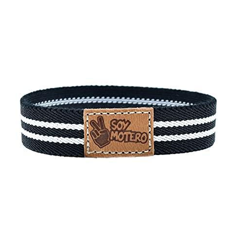 BDM - Pulsera de Tela Soy Motero elástica en Blanca y Negra para Hombre y Mujer con Pieza de Cuero 100% Natural.