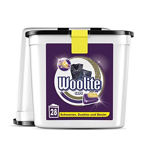 Woolite Caps Black – Pflegende Feinwaschmittel Caps für schwarzes, Dunkles und Denim – Für 56 Waschladungen – 2er Pack (2 x 28 Caps)