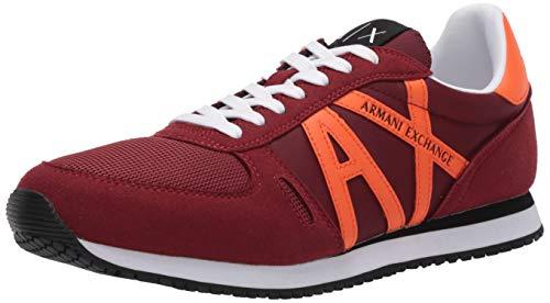 A | X Armani Exchange zapatos de deporte de los hombres con el logotipo de la parte superior baja de encaje hasta el entren, Rojo (burdeos y naranja.), 43 EU