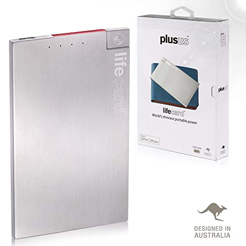 Plusus LifeCard World's Thinnest Power Bank - Card Size Fits Like a Card Built-in MFI Lightning Cable