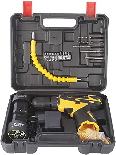DAIVE Multi-Function Hard Plastic Cordless Drill Machine 12V Lithium-Ion 1.5Ah with 2 Batteries and Two Speed Control LED Light Guided Reverse Forward Motion Screw Driver 10mm (Black and Yellow)