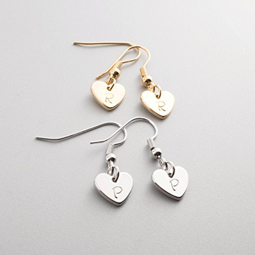 Personalized Lovely Dainty Heart Charm Initial Earring /16k Gold White Gold Plated/Wedding Christmas Bridesmaids Gifts