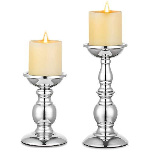 Nuptio Säulenkerzenhalter Metallkerzenhalter Ideal für 80mm Kerzen, Silberner Kerzenhalter für Wohnzimmer, Gärten, Spa, Aromatherapie, Weihrauchkegel, Hochzeit, Party, 2 Stück