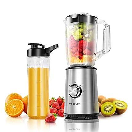 Aigostar Baron - Batidora de vaso individual para frutas, verduras y smoothies, batidora portatil 350W. Jarra 1 litro, botella 600ml, 2 controles de velocidad. Libre de BPA.