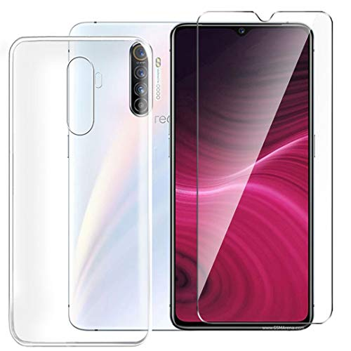 HYMY Hülle für Realme X2 Pro Smartphone + 1 x Schutzfolie Panzerglas - Transparent Schutzhülle TPU Handytasche Tasche Durchsichtig Klar Silikon Hülle für Realme X2 Pro -Clear