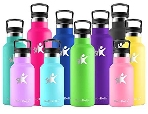 KollyKolla Botella de Agua Acero Inoxidable, Termo Sin BPA Ecológica Reutilizable, Botella Termica con Pajita y Filtro, Water Bottle para Niños & Adultos, Deporte, Oficina, Yoga, (350ml Ve