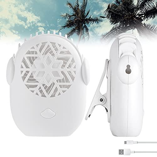 SYTUAM USB Mini-Lüfter Tragbarer leiser 6-Gang-Lüfter mit Clip und Riemen Ultraleichter Handlüfter Taillenhals für Outdoor Sportreiseschreibtisch Wimpern Ventilator für wimpernverlängerung