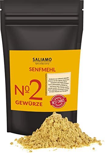 500 g Senfmehl gemahlen teilentölt, Senfsaat gelb gemahlen zur Senfherstellung, Senfpulver, Senf selbst herstellen, auch zum Rub, Gewürzmischung und Marinade anrühren geeignet | Saliamo (500g)