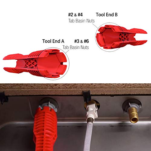 WREOW (8 in 1)Multifunctional Faucet Wrench Tool,Double Head Sink Installer Tool Water Pipe Spanner Tackle For Plumbers And Homeowners (red)