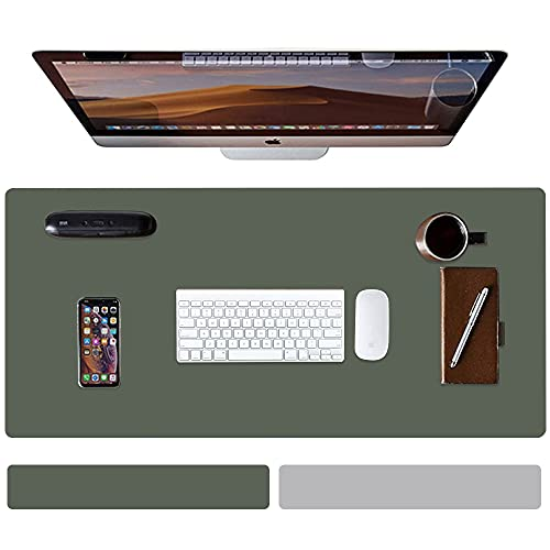 Pair-Color Large PU Leather Mouse pad, Suitable for Office, Home Office, School Notebook Computer Desk pad, Waterproof Writing pad, Desktop Protection pad 31.415.70.06 inches(Dark Green/Grey)
