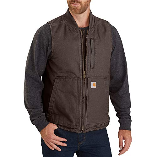 Carhartt Men's Big & Tall Loose Fit Washed Duck Insulated Rib Collar Vest, Dark Brown, 4X-Large