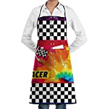 Race Car Driver Costume for Halloween Adjustable Chef BBQ Apron for Women with 1 Pockets