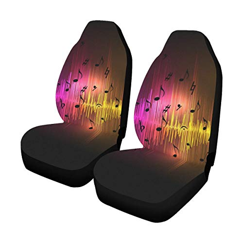 InterestPrint Music Equalizer Waves Universal Fit Car Seat Covers (Set of 2) Best Automobile Seats Protector