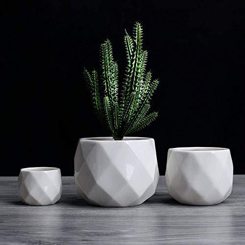 Creative Ceramic Diamond Geometric Flowerpot Simple Succulent Plant Container Green Planters Small Bonsai Pots Home Decoration,12x9cm