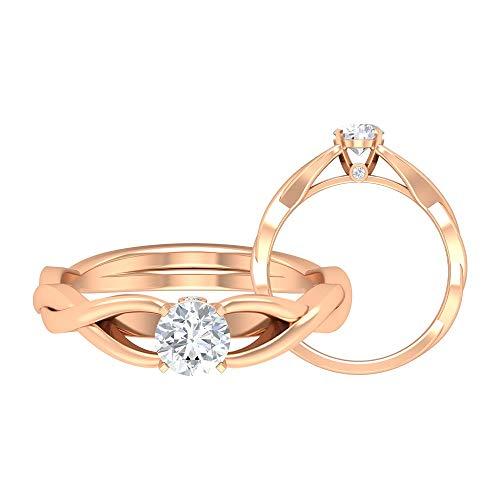 Solitär Verlobungsring, HI-SI 0,5 CT 5 mm runde Form Diamant-Ring, Spiralschaft Ehering, Frauen Jahrestag Ring, Cocktail Statement Ring, 14K Roségold, Size:EU 44