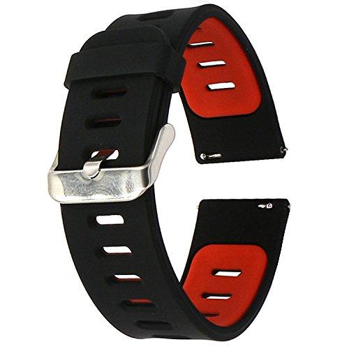 EL-move 22mm Armband Bracelet Uhrenarmband Silikon Sportarmband Erstatzband für Samsung Gear S2 Classic/Gear S3 Frontier/Motorola Moto 360 2nd / LG G Watch W100/W110 / Urbane (Black Red)