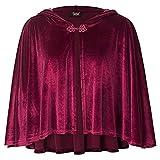 Women's Cape Cape Victorian Retro Steampunk Button Velvet Hooded Cape (Red Wine,one Size)