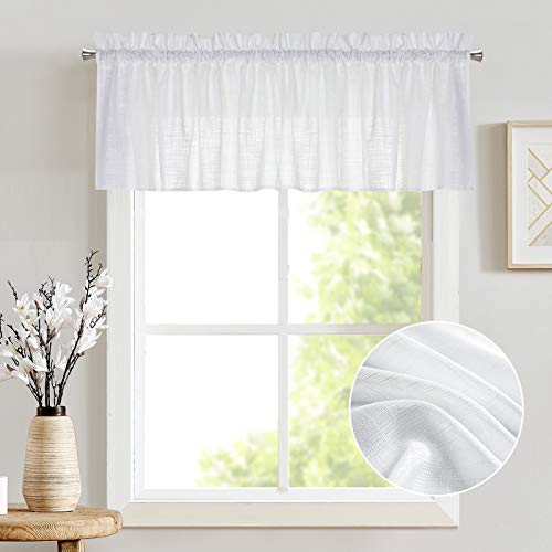 jinchan Sheer Valance Curtain Linen Textured for Kitchen Living Room Bedroom Window Rod Pocket 1 Panel 16 inches Long White