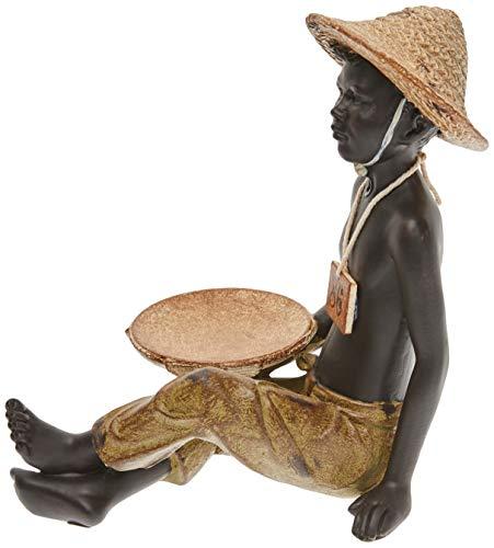 Better & Best Figura Decorativa de niño Africano Sentado con Bandeja Pastel y, Negro, Medidas 11x15x16 cm, Material: Resina, Amarillo, Talla única