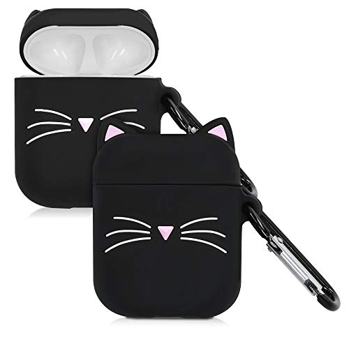 kwmobile Schutzhülle kompatibel mit Apple AirPods - Hülle Kopfhörer - Silikon Hülle Cover Katze Schwarz Weiß