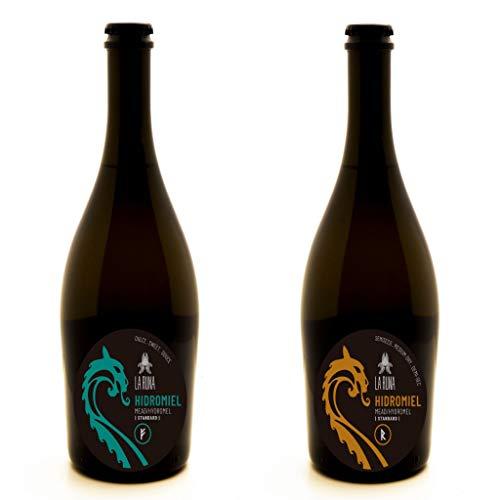 La Runa Hidromiel. Bebida Artesana. Surtido de Sabores.(2 botellas de 0,75cl) (Dulce - Semiseco)