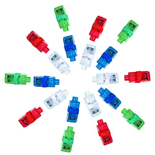 LITSPOT LED Bunt Fingerlicht,20STK Fingerlampe Mitbringsel Fingerring Super Helle Leuchtringe Fingerlichter Taschenlampe für Spielzeug Geburtstag Kinder Jungen & Mädchen Party Supplies Halloween
