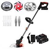 Portable Electric Grass Cutter Machine, Handheld String Trimmer Lawn Mower 24V Powered Garden Edger Tool with U-Handle and Replace Blade,2 Battery