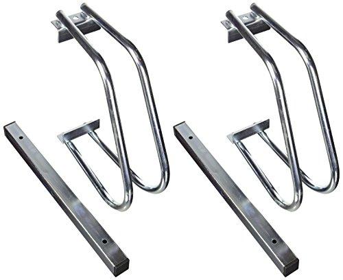 Relaxdays Fahrradständer, Boden oder Wandmontage, Für 2 Fahrräder, Aus verchromtem Stahl, Regenfester Fahrradhalter für draußen, HBT: ca. 26 x 40 x 32 cm, silber