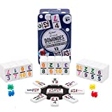 Regal Games Double 12 Colored Number Dominoes Mexican Train Game Set with Hub, 91 Numbered Domino Tiles, 4 Trains, and Collectors Tin