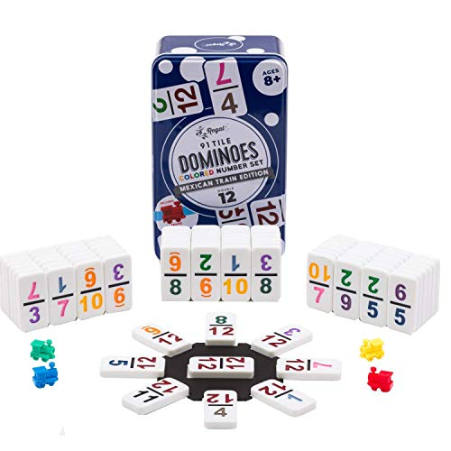 Regal Games Double 12 Colored Number Dominoes Mexican Train Game