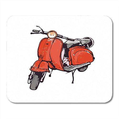 AOHOT Mauspads Vespa Vintage Hand Graphics Old Red Scooter Travel Italy Motorcycle Mouse pad 9.5
