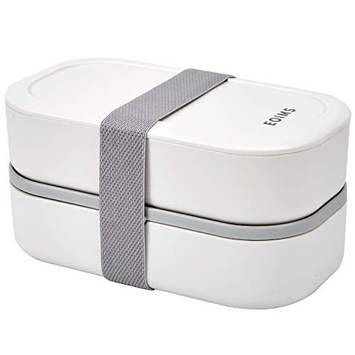 Caja bento para adultos, caja bento japonesa, caja bento apilable, con partición, a prueba de fugas, lonchera sin BPA, horno de microondas y lavavajillas, fácil de limpiar (blanco)