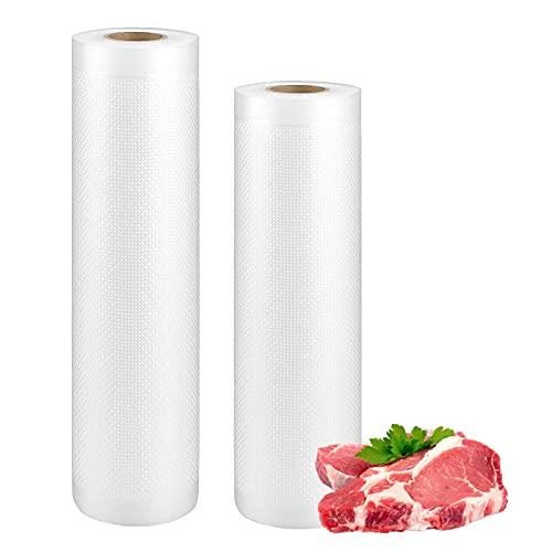 Mecmbj 2 Rollos Bolsas Vacio Comida, 20 x 500 cm y 30 x 500 cm Rollo Envasado al Vacio Gofradas para Conservacion de Alimentos y Sous Vide Cocina, para la Mayoría de las Máquinas de Sellado al Vacío