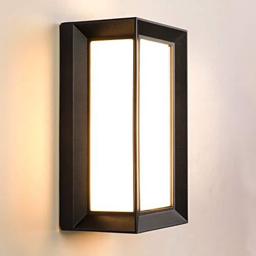 Lightess Apliques de Pared Exterior 18W LED Lámpara de Pared Moderna Impermeable IP66 Luz Simple Suave 1800lm 3000K Blanco Cálido Iluminación para Balcón, Pasillo, Corredor, Baño, Jardín, Negro